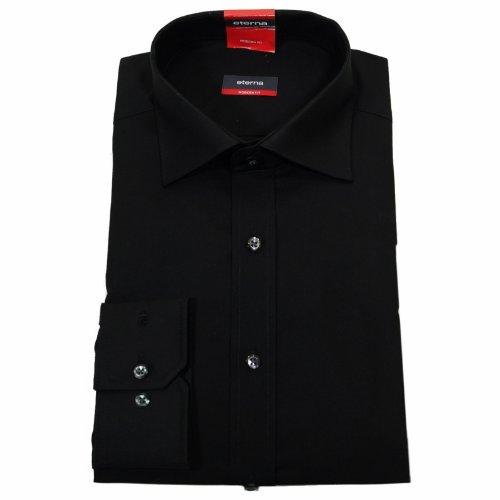 Baumwolle Popeline Hemd (ETERNA Herrenhemd Langarm Baumwoll Business Freizeit MODERN FIT Popeline unifarben- Gr. 42, Schwarz)