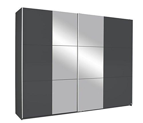 Rauch Kronach Schwebetürenschrank mit Spiegel 2-türig, Grau-Metallic Nachbildung, BxHxT 261x210x59 cm