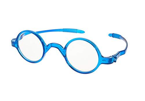 MFAZ Morefaz Ltd Damen Herren Lesebrille Runden Brille Retro Vintage +0.50 +0.75 +1.0 +1.5 +2.0 +2.5 +3.00 +4.00 Reading (1.00, Blue)