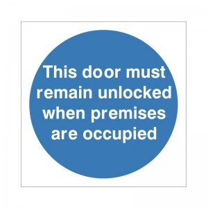 5-x-this-door-must-remain-unlocked-when-premises-are-occupied-signs-100mm-x-100mm-self-adhesive