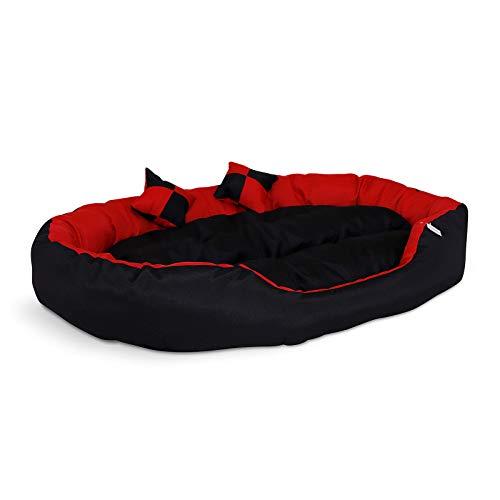 dibea 4-in-1 Hundebett, Hundekissen, Hundekörbchen mit Wendekissen, rot/schwarz, Größe L