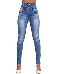 2c13865d888cc Jeans pour Femmes Pantalons Mode De Couleur Unie Simple Crayon Crayon Pantalon  Slim Jeune Curve Jeans Skinny Simple Boutonnage avec…