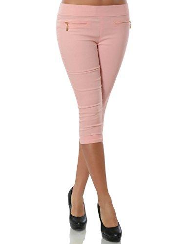 Damen Capri Hose Sommerhose Kurze-Hosen (weitere Farben) No 15526, Farbe:Rosa;Größe:42 / XL (Stretch-capri-hosen Rosa)