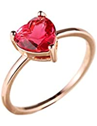 Yiyue 925 Señoras Señores Elegantes Elegante Anillo Anillo Rojo El Amor Crystal Simulación Dedo Índice Anillos