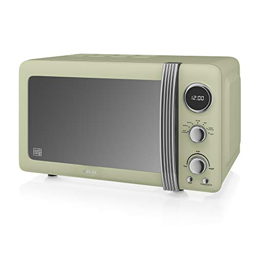 Swan SM22030GN Retro Digital Microwave, 800 W, Green