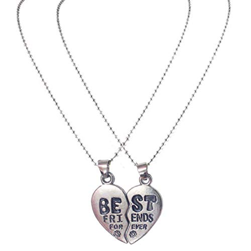 BFC-Heart Broken Style 2-Pcs Best Friend Forever Jewelry Gift Black and Silver Alloy Heart Necklace Pendant for Unisex