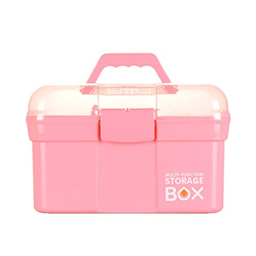 Medizin Box Haushalt Große Transparente Plastikabdeckung Erste-Hilfe-Diagnose-Box Medizinische Versorgung Aufbewahrungsbox HUXIUPING (Color : Pink, Size : L)