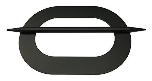 Tilldekor Raffspange OVAL, Metall, schwarz, Gardinenspange mit Befestigungsstab
