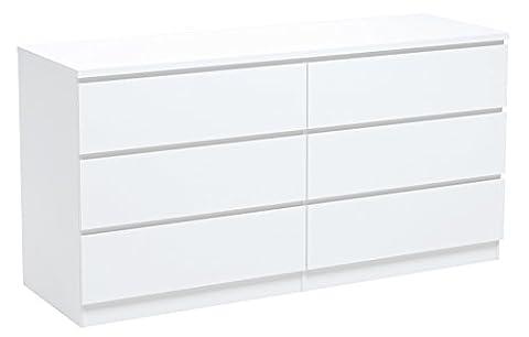 INFINIKIT Haven Commode en bois blanc, 6 tiroirs