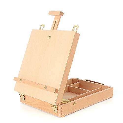 Holz Tisch Staffelei, Künstler Staffelei mit Holz Tisch Skizzieren Box, tragbare Desktop Storage einstellbare Zeichnung Paint Palette Large Case für Erwachsene und Kinder Staffeleien-360 * 270 * 50mm (Paint Für Kinder Palette)