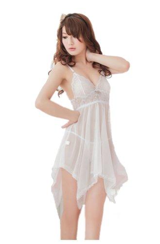 arent weichen Schlafanzug Pyjama Nachthemd Anzug Temptation Sexy Dessous + G string Sieben Farben (weiß) (Weiches Nachthemd)