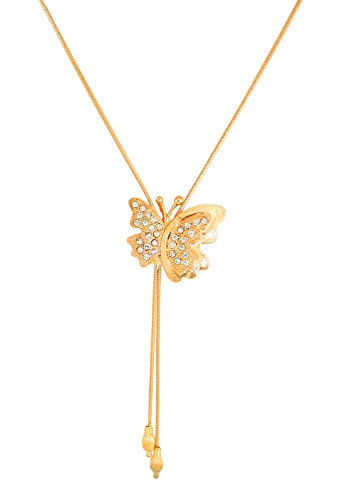 Touchstone White Austrian Crystals Butterfly Gold Tone Pendant For Women