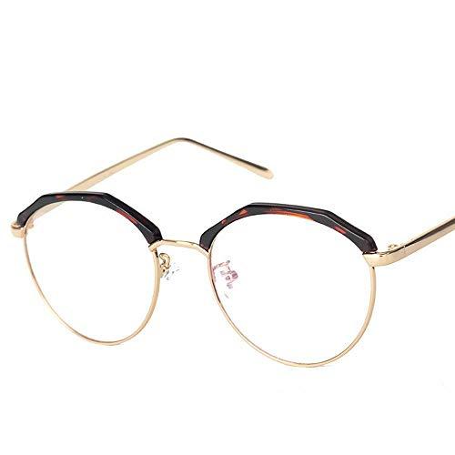UICICI Metallrahmen-Brille Vintage Retro Classic Half Frame Horn umrandete klare Linsengläser (Farbe : Tawny)