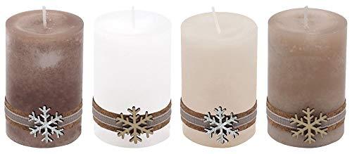 ZauberDeko 4 Adventskerzen Kerzen Stumpenkerzen Holz Weihnachten Tischdeko Braun Beige Wollweiß Weiß Deko