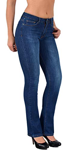 ESRA Damen Jeans Bootcut Jeanshose Schlaghose Damen Hose bis Übergröße 50, 52, 54 J111 -
