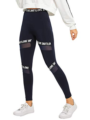 SOLY HUX Damen Sportlich Leggings Mesh Netz Leggins Bunt Sporthose Jogger Fitnesshose Sweathose Marineblau XS
