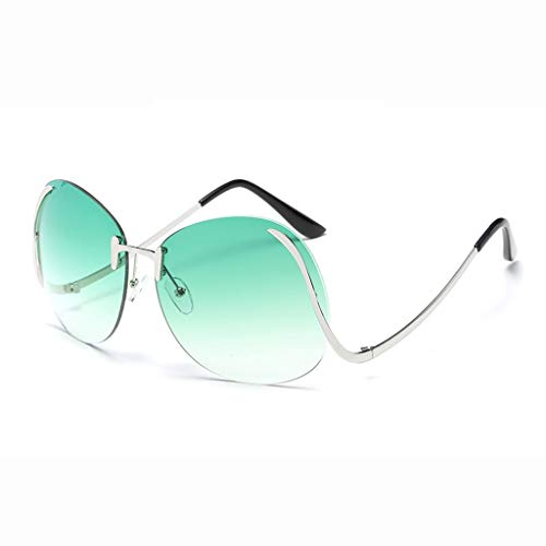 Sonnenbrille Rahmenlose Marine Linse Retro Frau Tourismus Urlaub Einkaufen Fotografie Komfort Leichte Anti-UV Strahlenschutzbrille (Farbe: Silber Rahmen Farbverlauf Grüne Linse)