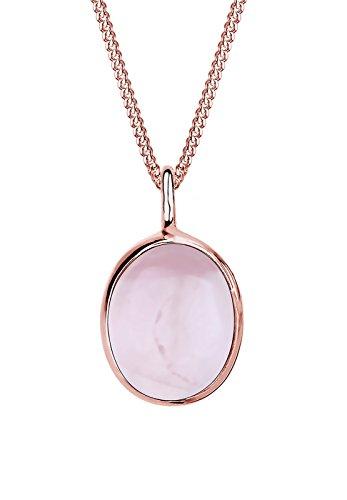 Elli Damen-Halskette mit Anhänger Rosenquarz Edelstein rosé vergoldet silber 925 Quarz rosa 0112961114_45