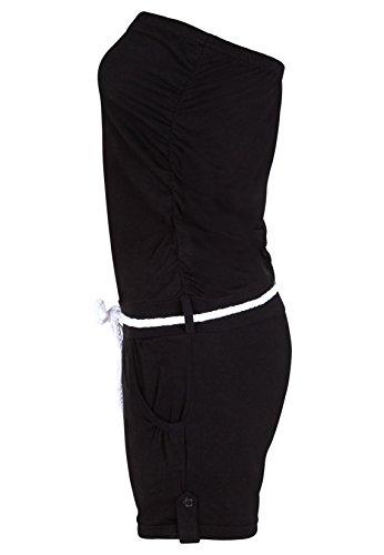 Stitch & Soul Damen Bandeau Jumpsuit | Kurzer Overall | Sexy Einteiler aus bequemen Jersey Material Black