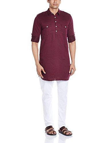 Peter England Men's Cotton Kurta (8907411583493_PO31681344_Maroon_38)