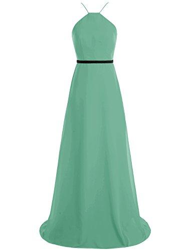 Bbonlinedress Robe de demoiselle d'honneur longue forme empire style halter Vert