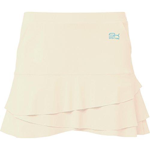 Sportkind Mädchen & Damen Tennis/Hockey/Golf Tulip Rock mit Taschen & Innenhose, creme, Gr. 158