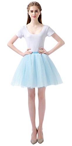 (Feoya Damen Vintage Tutu Rock Layered Mini Rock 50er Kurz Petticoat Tanzkleid Multi-Schichten Ballett Tütü Kostüm Tüllrock)