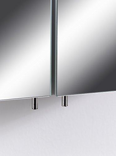 CAVADORE Spiegelschrank SLEEK 03 / Eleganter Badezimmerschrank mit Spiegel 60cm / mit Warmton LED-Beleuchtung & Steckdose / Weiß / Soft Close Funktion und