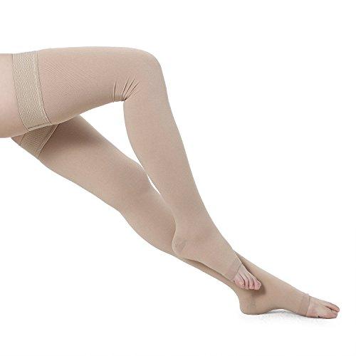 Bogeli Abgestufte Kompression Strümpfe oberschenkellang mit Offenen Zehen 20-30mmHg, Nude, Small -