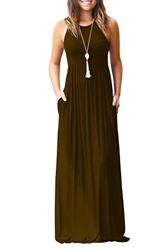 Bequemer Laden Sommerkleid Damen Casual Ärmellos MaxiKleid mit Taschen Kaffee-2XL