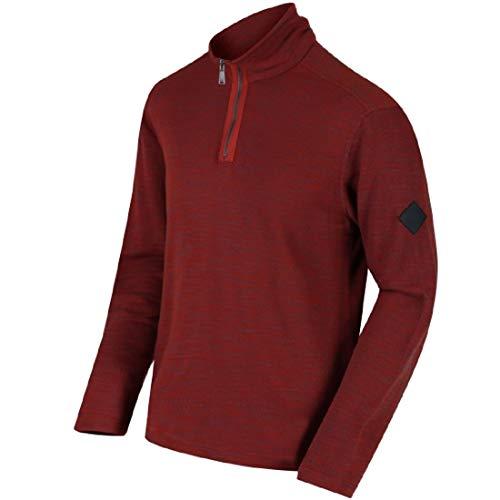 Regatta Mens Parnel Lightweight Half Zip Fleece Thermal Pullover Burnt Tikka XXL -