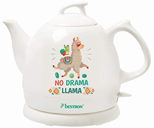 Bestron Wasserkocher im Retro Design, 0,8 Liter, 1800 Watt, Keramik, Aufdruck: No Drama Llama Retro Keramik