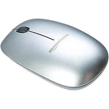 AmazonBasics - Ratón Bluetooth de diseño fino, Plateado