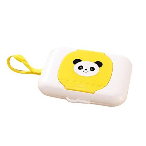 coohole Cute Kind Baby Travel Feuchttücherbox Feuchttücher Box Wickeltasche Spender Home Aufbewahrung Halter, damen, Gelb 1 Cotton Ball Holder