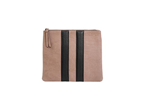 Paint Genuine Leather Dark Beige Stripped zipPpouch