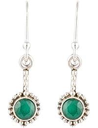 Handicraft 92.5 Sterling Silver Work Wear Emerald Drop Silver Earrings for Girls (AA925082)