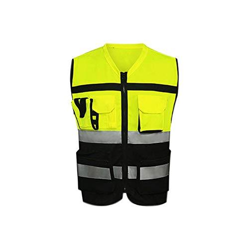 MLXFGBX MLX Reflektierende Weste, Sichere Drei-Farben-Modelle Car Reflektierende Kleidung Motorradwesten Highlights Atmungsaktiv (Farbe : Black and yellow, größe : L)