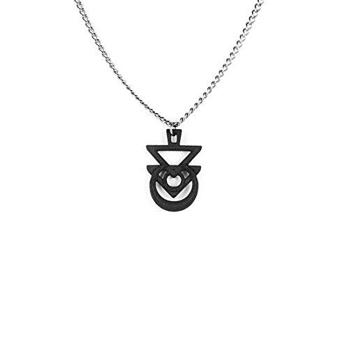 Il sigillo di Euphoria Rogue e il lupo-Collana in nero-3d stampato gotico gioielli