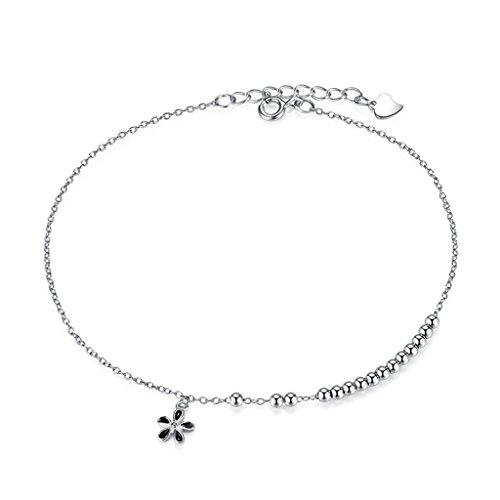 CKH 925 Sterling Silber Fußkettchen Weibliche Einfache Student Sen Abteilung von Blütenblatt Fuß Kette Geburtstagsgeschenk Für Freundin -