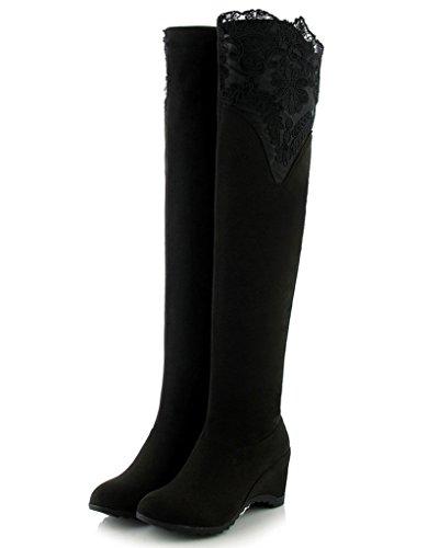Minetom Donna Autunno Inverno Sopra La Coscia al Ginocchio Stivali Piattaforma Pizzo Lunghi Stivali Scarpe Nero