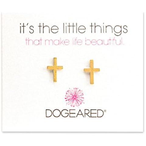 Dogeared-Collana in argento Sterling placcato oro, semplici orecchini a lobo a forma di croce