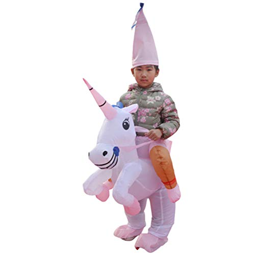 Toyvian Aufblasbare Einhorn Reitkostüm Anzug Lustige Halloween Blow Up Cosplay Anziehanzug für Kinder (Pink, 80-120cm, Keine Batterie)