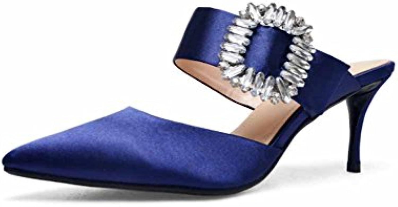 SHINIK Femmes Boucle Pointue Sandales 2018 Mode Été Nouvelle Mode 2018 Haute Talon Pantoufles Sardines Mules Grande Taille 3fb617