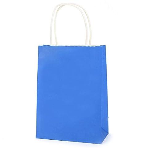 1 Sac de Papier Cadeaux kraft Paquet Pochette Sachet Rangement Bijoux Fete Mariage 15x8x21cm bleu