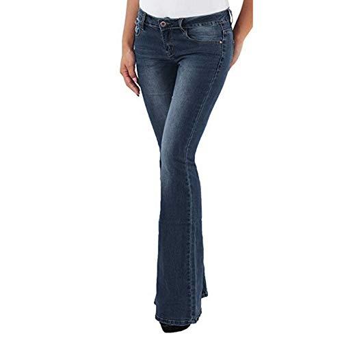 Vertvie Damen Jeans Bootcut Jeanshose Mit Hohem Bund Casual Lange Mode Hose Weite Schlaghosen Retro Stil Denim Hose(Mittelblau, XL)
