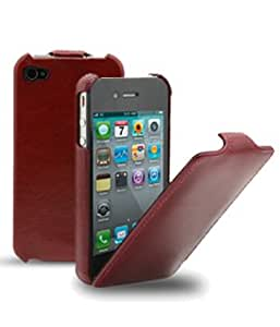 Melkco - Housse cuir flip ultra mince iPhone 4 / 4S vintage rouge
