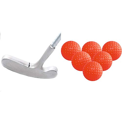 LONGRIDGE Kinder GOLFSCHLÄGER Two Way Putter GRAU 78,7 cm (31 Zoll) LÄNGE, Silber, LH & Trainings-Golfbälle Gelee, 6 Stück, orange