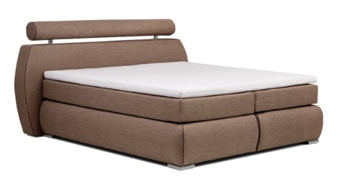Collection AB Boxspringbett Cannes 180 x 200 cm, Strukturstoff hellbraun, machiato