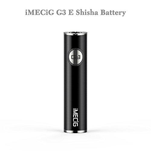 IMECIG® Original G3 E Shisha 900 mAh, das 510er Akku mit zwei Anschlüssen am Boden+LED Anzeige , umfassen keines Nikotin&keine E Liquid, Schwarz, 1 Stück (Anzeigen Für Boden)