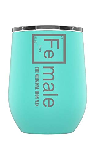 Stainless Steel Camping & Travel Powder Coated Wine Glass Tumbler with Splash Proof Lid, Triple Wall Vacuum Insulated, Coffee Mug Travel Work|Hot Cold Drinks (Teal, Fe-Male Iron Man)